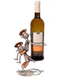 Support bouteille métal - 2 Chefs acrobates